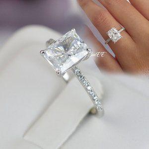 Real 925 Radiant Cut Wedding Engagement Ring Set